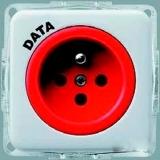 Розетка Hager-Polo REGINA с центральним контактом заземления DATA с ключем  (винт) 16А 230V белая